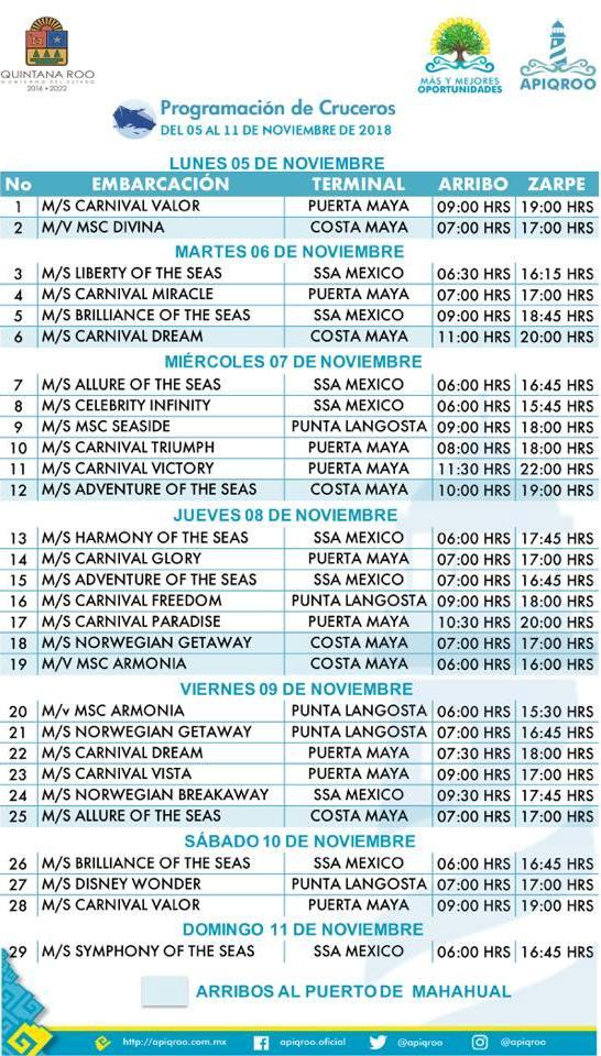 Cozumel Cruiseship Arrival Schedule