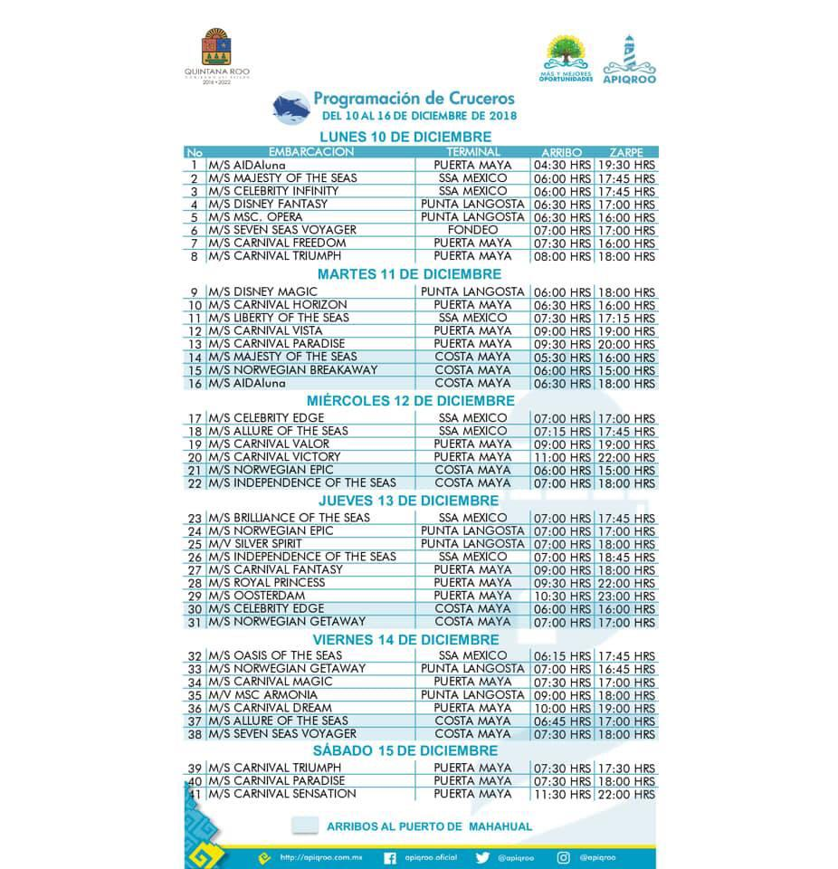 Cruise Ship Schedule in Cozumel for December 10 to 16, 2018