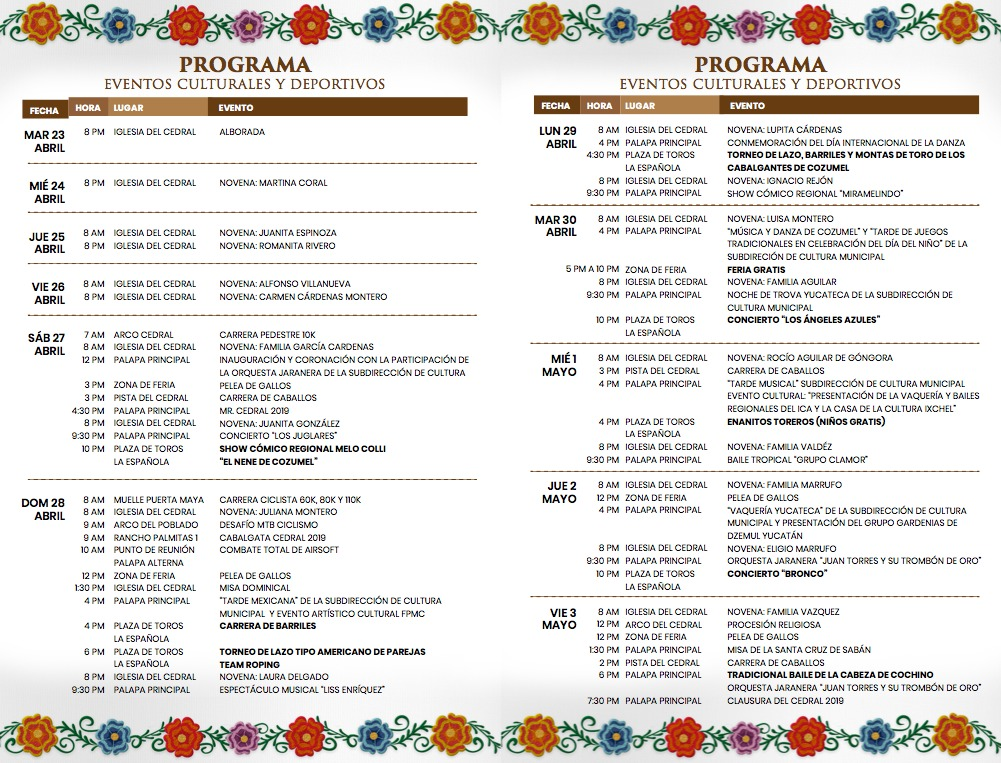 El Cedral Fair 2019 - Cultural & Sports Events Program